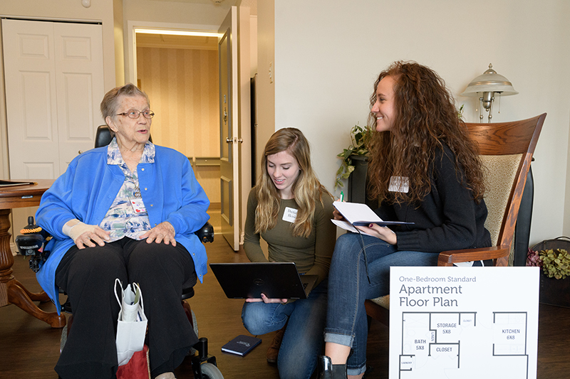 Students kickoff event interviewing senior residents at Westminister Village about unique needs