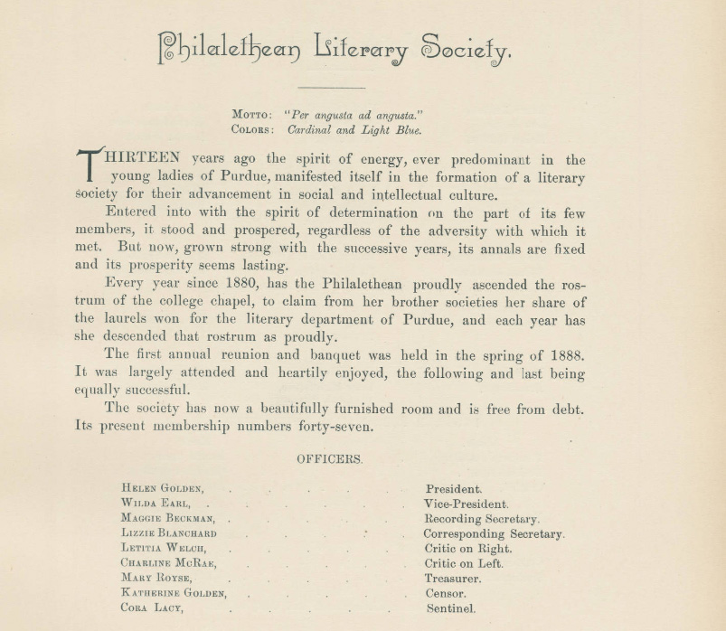 1890 Debris entry for Philalethean Literary Society