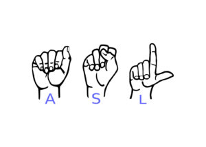 Signs for letters A,S & L